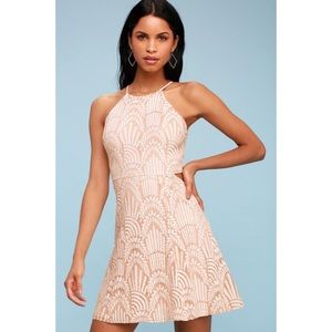 Casey Blush Lace Skater Dress